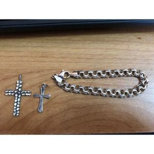 Sterling Bracelet and 2 Sterling Cross Charms